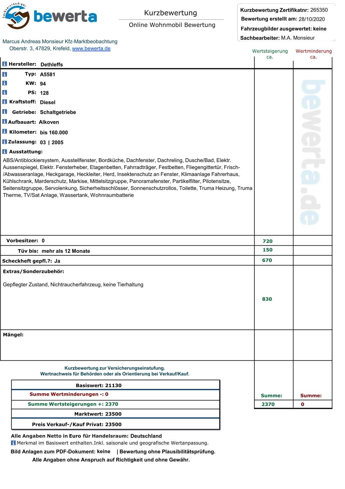 Wohnmobil Bewertung: Bewerten Sie Ihr Wohnmobil Neutral